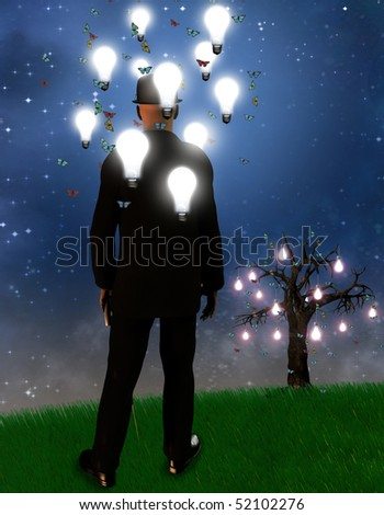 Surreal landscape with man and idea bulbs - stock photo