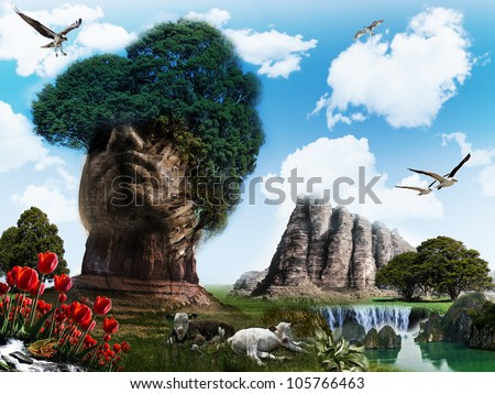 surreal landscape with mountain shaped like a head - stock photo