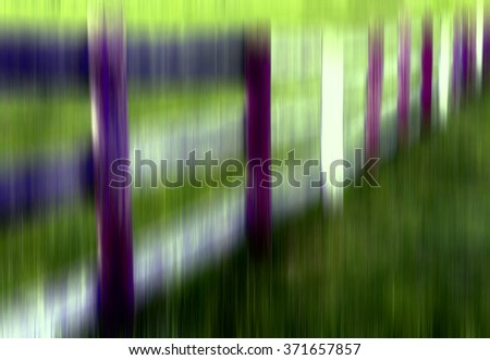 Surreal multicolored abstract of paddock fence with vertical motion blur, for illustration or background with motifs of rusticness, perception, altered states of mind - stock photo