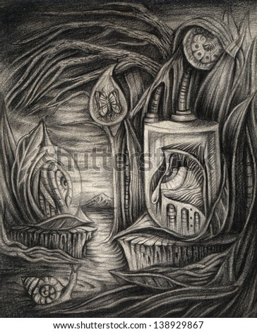 Surreal nature. Pencil drawing on paper. - stock photo