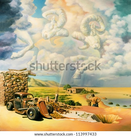 Surreal oil painting on canvas - stock photo