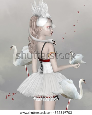 Surreal portrait of a girl with swans - stock photo