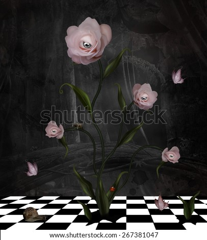 Surreal rose bush with different kinds of insects - stock photo