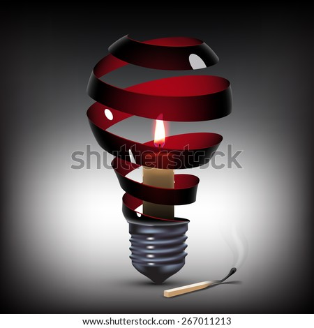 surreal spiral black light bulb with candle inside - stock photo