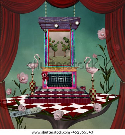 Surreal stage with stuff inspired by Alice in wonderland fairytale - 3D and digital painted illustration - stock photo