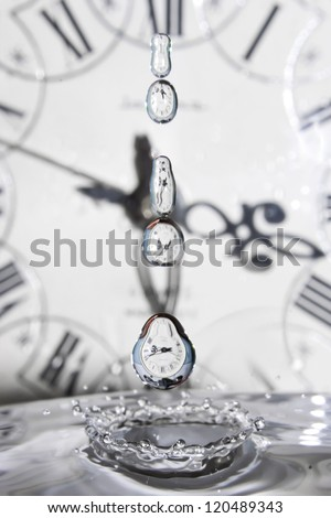 Surrealism. Drop of time. Play with water and clocks. - stock photo