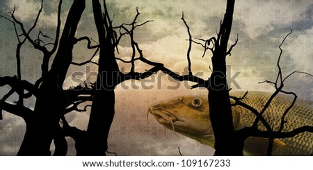 Surrealistic composition with fish, trees and patterned sky - stock photo