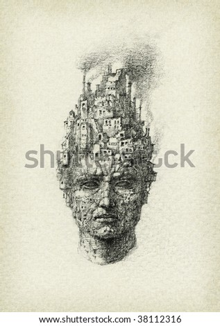 Surrealistic head, drawn with pencil on paper. - stock photo