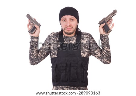 Surrendering man in military uniform holding gun isolated on white - stock photo