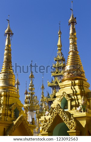 surround pagoda of Shwedagon pagoda in Yagon, Myanmar - stock photo