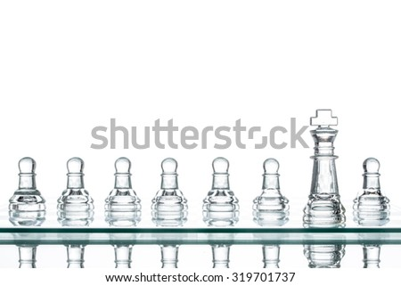 Surrounded king chess, business strategy War Winning Teamwork - stock photo