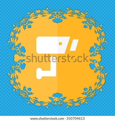 Surveillance Camera . Floral flat design on a blue abstract background with place for your text. illustration - stock photo