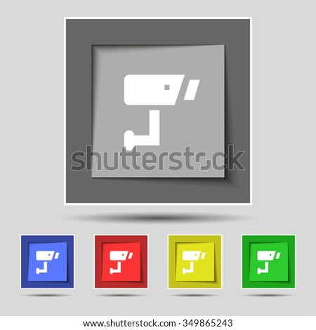 Surveillance Camera icon sign on the original five colored buttons. illustration - stock photo
