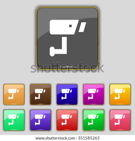 Surveillance Camera icon sign. Set with eleven colored buttons for your site. illustration - stock photo
