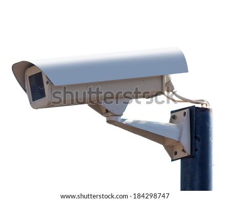 surveillance Camera, isolated white background - stock photo