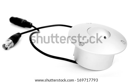 surveillance camera , studio shot - stock photo