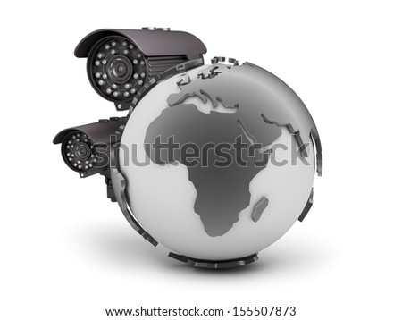 Surveillance cameras and earth globe on white background - stock photo