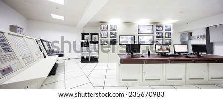 surveillance control room interior of airport - stock photo