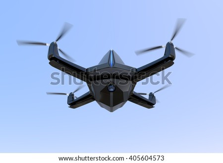 Surveillance drone flying in the sky. 3D rendering image.  Original design. - stock photo