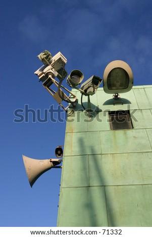 Surveillance Equipment on Lifting Bridge - stock photo
