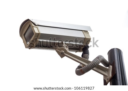 Surveillance high-definition camera isolated on white background - stock photo