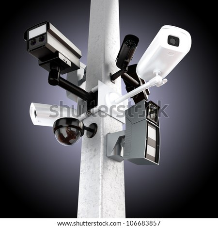 Surveillance mega camera's concept with a gradient background - stock photo