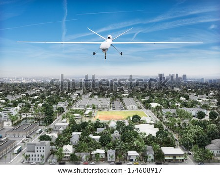 Surveillance UAV drone flying over a residential neighborhood . Government is watching concept.   - stock photo