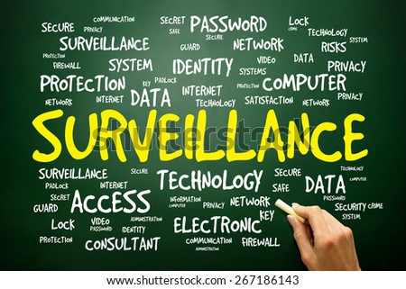 Surveillance word cloud, security concept - stock photo