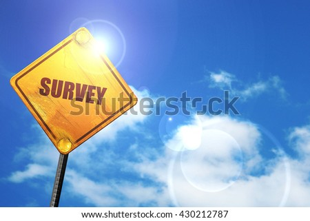 survey, 3D rendering, glowing yellow traffic sign  - stock photo