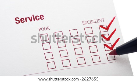 survey for service rendered with excellent checkbox marked - stock photo