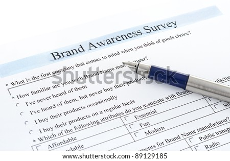 brand awareness questionnaire Brand awareness survey questions are usually organised into sections, beginning with demographics and screeners, followed by awareness questions themselves.
