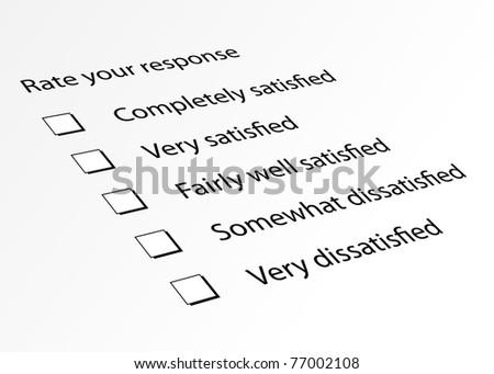 Survey form for customer satisfaction response - stock photo