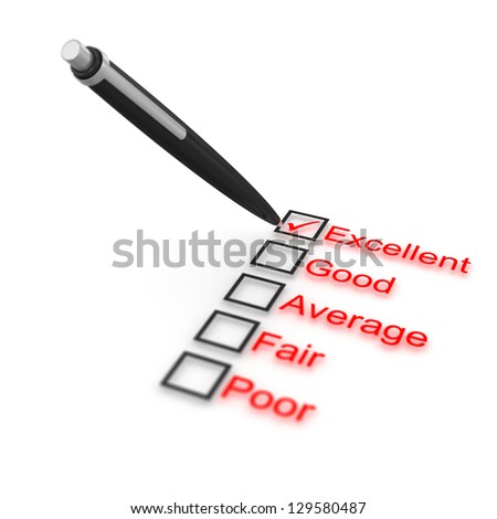 Survey of quality , computer generated image. 3d render. - stock photo
