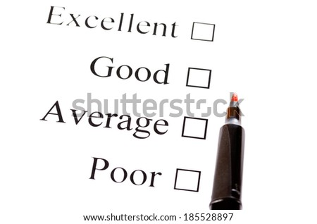 Survey on paper and pen on white background - stock photo