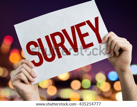 Survey placard with night lights on background - stock photo