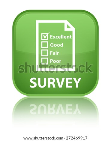 Survey (questionnaire icon) soft green square button - stock photo