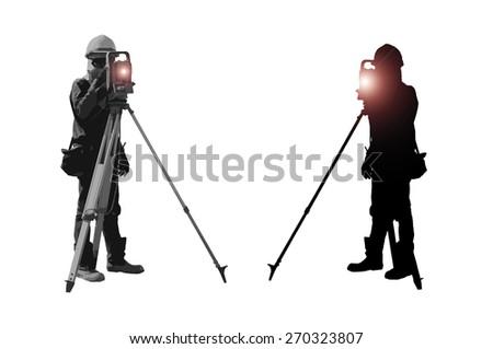 surveyor ,surveyors,survey map - stock photo