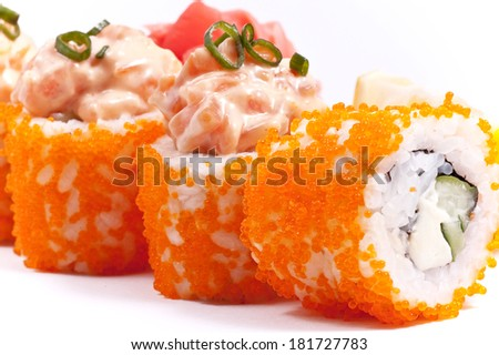 sushi a dish from fish on a white background close up - stock photo