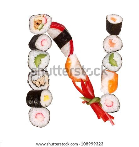 """Sushi alphabet letter """"N"""" isolated on white background - stock photo"""