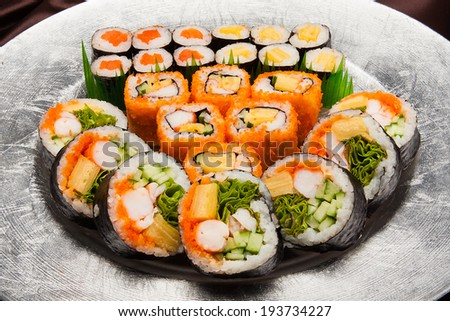 Sushi and Rolls, closeup - stock photo