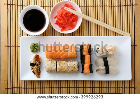 sushi and rolls on plate top view, asian food - stock photo