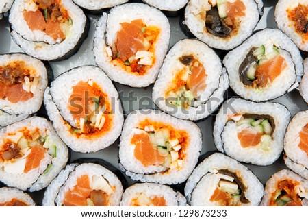 Sushi background.Japanese food. - stock photo
