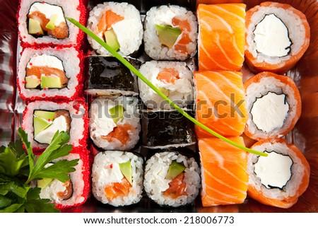 Sushi Box Food Top View - stock photo