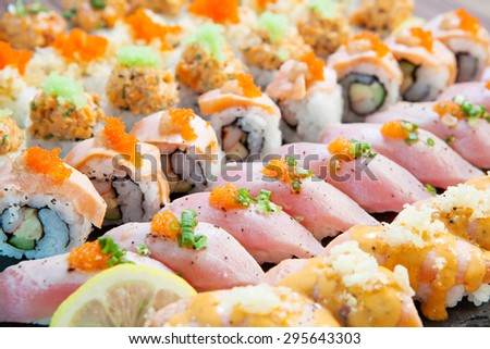 Sushi buffet  - stock photo