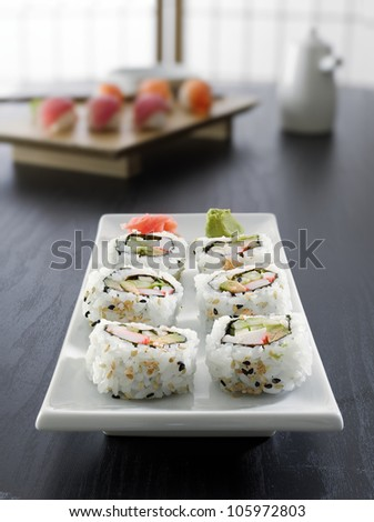 sushi - california roll all in focus - stock photo