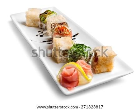 Sushi, isolated, meal. - stock photo