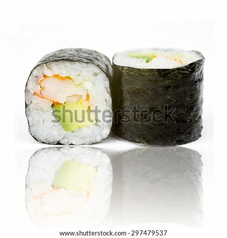 Sushi  isolated on white background - stock photo