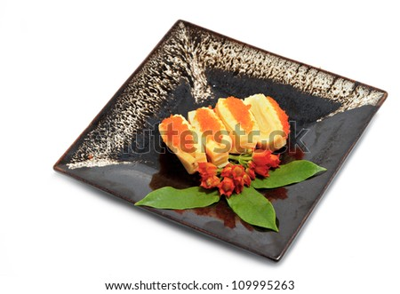 sushi,japanese food  display on dish - stock photo