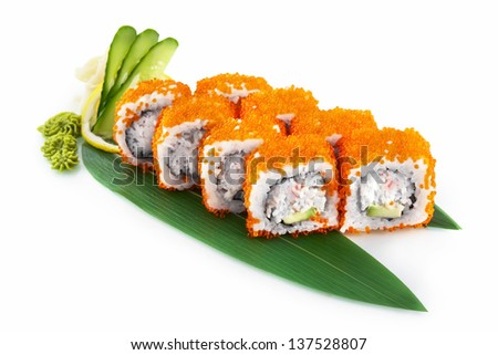 Sushi Masago with delicious ingredients isolated on white background - stock photo