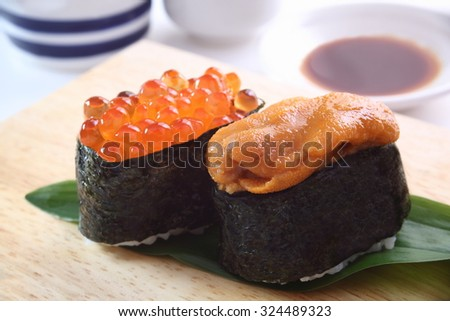 Sushi of the sea urchin and salmon roe/Sushi, sea urchin and salmon roe - stock photo